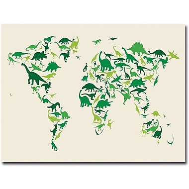 Trademark Global Michael Tompsett in.Dinosaur World Mapin. Canvas Art, 35in. x 47in.