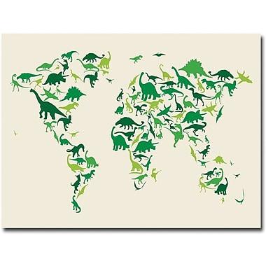 Trademark Global Michael Tompsett in.Dinosaur World Mapin. Canvas Art, 35in. x 47in.