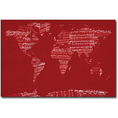 Trademark Global Michael Tompsett in.Sheet Music World Mapin. Canvas Art, 16in. x 24in.