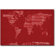 "Trademark Global Michael Tompsett ""Sheet Music World Map"" Canvas Art, 16"" x 24"""