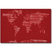 "Trademark Global Michael Tompsett ""Sheet Music World Map"" Canvas Art, 30"" x 47"""