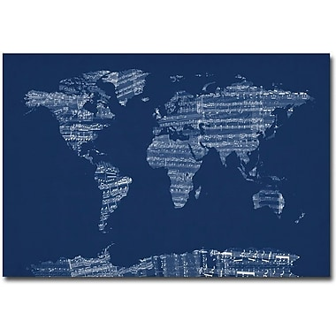 Trademark Global Michael Tompsett in.Sheet Music World Map in Bluein. Canvas Art, 16in. x 24in.