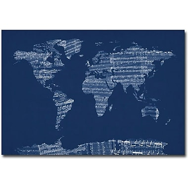 Trademark Global Michael Tompsett in.Sheet Music World Map in Bluein. Canvas Art, 30in. x 47in.