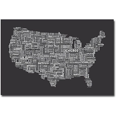Trademark Global Michael Tompsett in.US Cities Text Map IIIin. Canvas Art, 30in. x 47in.