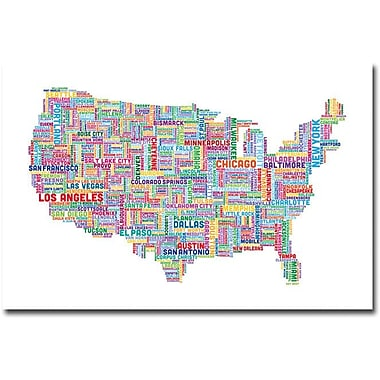 Trademark Global Michael Tompsett in.US Cities Text Map IVin. Canvas Art, 30in. x 47in.