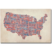 "Trademark Global Michael Tompsett ""US Cities Text Map V"" Canvas Arts"