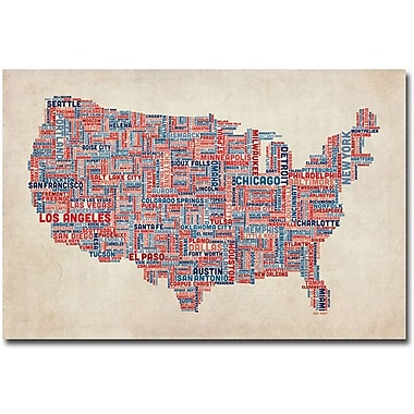 Trademark Global Michael Tompsett in.US Cities Text Map Vin. Canvas Art, 30in. x 47in.