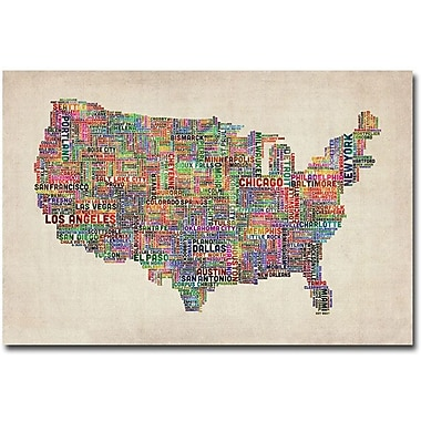 Trademark Global Michael Tompsett in.US Cities Text Map VIin. Canvas Art, 16in. x 24in.