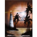 Trademark Global Conrad in.Lighthouse at Sunrisein. Canvas Art, 24in. x 18in.