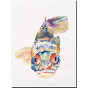 "Trademark Global Pat Saunders White ""Blue Fish"" Canvas Art, 24"" x 18"""