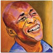 "Trademark Global Pat Saunders White ""Jazz Man"" Canvas Art, 18"" x 18"""