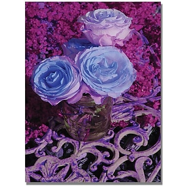 Trademark Global Patty Tuggle in.Blue and Pink Rosesin. Canvas Art, 47in. x 30in.