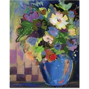 "Trademark Global Sheila Golden ""Cobalt Vase with Purple"" Canvas Art, 32"" x 26"""