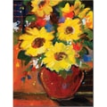 Trademark Global Sheila Golden in.Sunflowers With Red Bowlin. Canvas Art, 32in. x 24in.