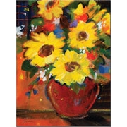 "Trademark Global Sheila Golden ""Sunflowers With Red Bowl"" Canvas Art, 32"" x 24"""