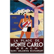 "Trademark Global Phillipe Bouchard ""La Plage de Monte Carlo Beach"" Canvas Art, 24"" x 16"""