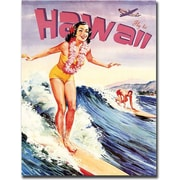 "Trademark Global ""Hawaii Vintage"" Canvas Art, 24"" x 18"""