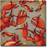 Trademark Global Working Girls Design Crab and Lobster II Canvas Art, 18 x 18