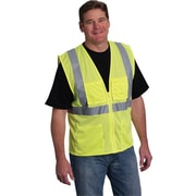 PIP Hi-Vis Safety Vest, ANSI Class 2, Zipper Closure, Yellow, Large
