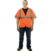PIP Hi-Vis Safety Vest, ANSI Class 3, Zipper Closure, Orange, Large