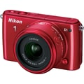 Nikon 1 S1 Digital Camera with 11-27.5mm f/3.5-5.6 NIKKOR Lens, Red