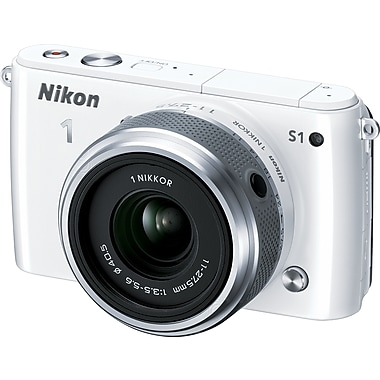 Nikon 1 S1 Digital Camera with 11-27.5mm f/3.5-5.6 NIKKOR Lens, White