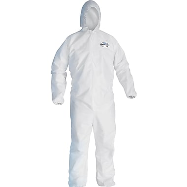 KleenGuard A40 Liquid Apparel Coveralls, Medium, White, Hooded, Zipper Front, 25/Carton