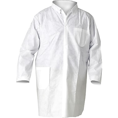 KleenGuard A20 Breathable White Lab Coats, Snap Front, 25/Carton