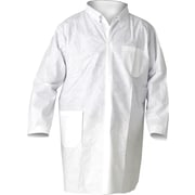 KleenGuard A20 Breathable White Lab Coats, Large, Snap Front, 25/Carton