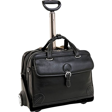 Siamod Carugetto Leather Detachable-Wheeled Laptop Case, Black