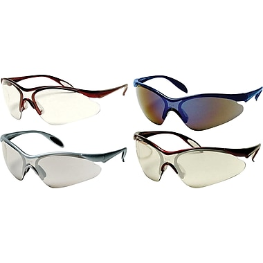 Dentec Citation 937 Safety Glasses Series Eyewear with Paddle Temples, Blue Frame & Blue Mirrored Lens