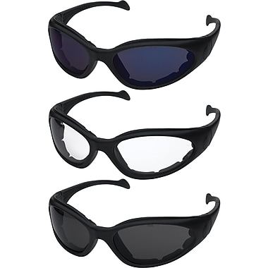 Dentec Sand Viper Black frame safety glasses with foam spatula temple & strap