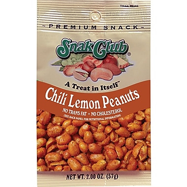 Snak Club Chili Lemon Peanuts Mix, 2 oz. Bags, 12 Bags/Box