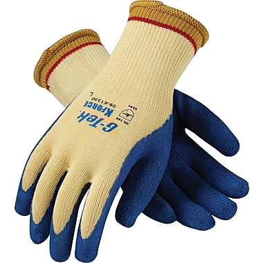 G-Tek K-Force Seamless Knit Cut Resistant Work Gloves, Latex With Kevlar, Yellow & Blue, 1 Pair