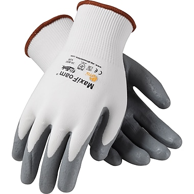 G-Tek MaxiFoam Seamless Work Gloves, Nylon Liner With Nitrile Foam Coating, Large, White & Black, 12 Pairs