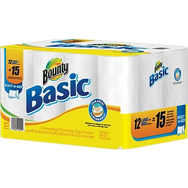 Bounty Basic Large Paper Towel Rolls, 12 Rolls/Case