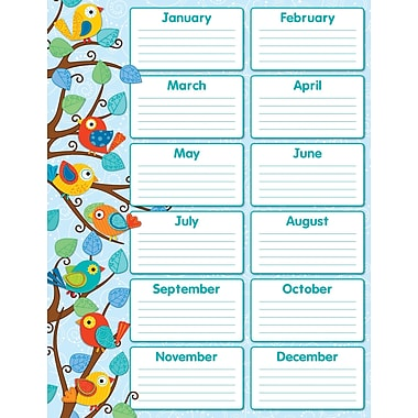 Carson-Dellosa Publishing 114187 Boho Birds Birthday Chart