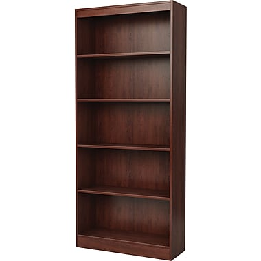 South Shore Work ID 5-Shelf Wood Bookcase, Royal Cherry