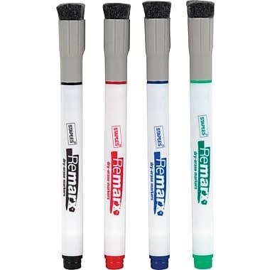 Staples® - Marqueurs à effacement sec Remarx™, pointe arrondie, couleurs variées, paq./4