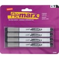 Staples® RemarxTM Magnetic Dry-Erase Markers, Bullet Tip, Black, 4/Pack