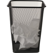 Brighton Professional Black Wire Mesh Square Wastebasket, 4.4 gal.