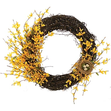 Forsythia Bright Blossoms Dried Floral Wreath, 20in
