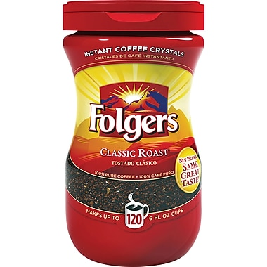 Folgers Classic Roast Instant Coffee, Regular, 8 oz. Jar