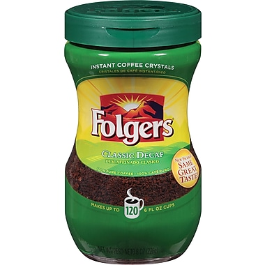 Folgers Classic Roast Instant Coffee, Decaffeinated 8 oz. Jar