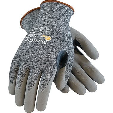 G-Tek MaxiCut Cut Resistant Work Gloves, Dyneema With Foam Nitrile Coating, Gray, 1 Pair
