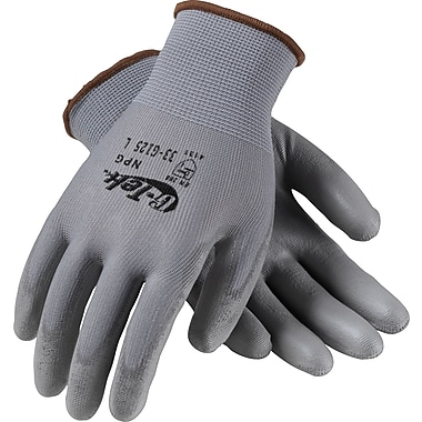 G-Tek NPG Seamless Knit Work Gloves, Nylon With Polyurethane Coating, Small, Gray, 12 Pairs