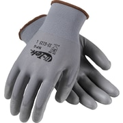 G-Tek NPG Seamless Knit Work Gloves, Nylon With Polyurethane Coating, Medium, Gray, 12 Pairs
