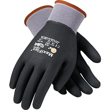 G-Tek MaxiFlex Ultimate Knit Work Gloves, Nylon Liner Micro-Foam Nitrile Coating, XL, Dark Gray & Black