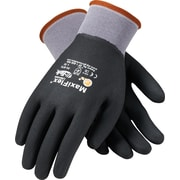 G-Tek MaxiFlex Ultimate Knit Work Gloves, Nylon Liner Micro-Foam Nitrile Coating, L, Dark Gray & Black