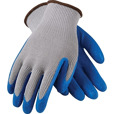 G-Tek CL Seamless Knit Work Gloves, Cotton/Polyester With Latex Coating, Medium, Gray & Blue, 12 Pairs